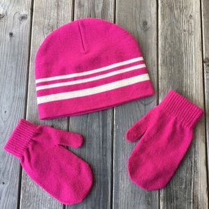 Pink hat w white stripes and solid pink mitten set